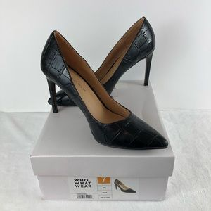 NEW Ally Pump Faux Leather Pointy Toe in Black